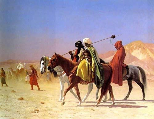 Pintura digital de bricolaje por número para adultos Jean-Léongérôme famosa pintura árabes cruzando el desierto artes artesanía para decoración de la pared del hogar