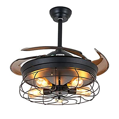 Ceiling Fan with Light Industrial Ceiling Fan Retractable Blades Vintage Cage Chandelier Fan with Remote Control-5 Edison Bulbs Needed Not Included (36 Inch)