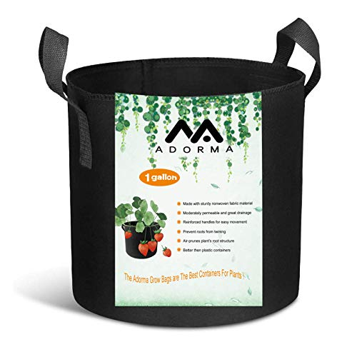 Adorma 10 Packs 1 Gallon Grow Bags, Heavy Duty 300G Thickened Nonwoven Fabric Plant Pots with Handle