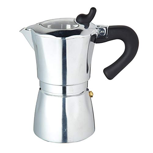 KitchenCraft World of Flavours Italian Style Stovetop Espresso Maker with Clear Lid, Metal, 6 Cup, 300 ml