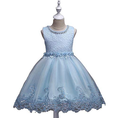 SMACO Flickor spetsklänning jul elegant prinsessklänning barnklänningar för flicka kostym barn bröllop festklänning BLÅ 140CM