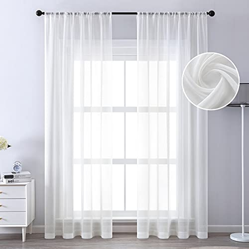 MRTREES Gardinen 2er Set Vorhang Halbtransparent Gardine Kurz Stores Gardinen Schals Weiß 225×140cm (H×B) in Leinenoptik Leinenlinien für Wohnzimmer Schlafzimmer Kinderzimmer