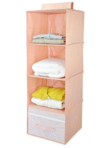 Mensole pensili armadio Accessori Organizzatore bagagli, 4-shelf, Ultra-pelle spessa tavola di legno interno, durevole Rack Storage (colore rosa)