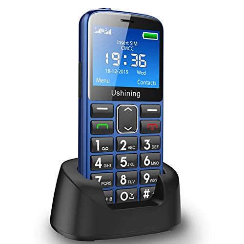 Ushining Big Button Mobile Phone for Elderly, Unlocked Senior Mobile Phone With SOS Emergency Button,Talking Numbers, Bluetooth,Torch and Charging Dock(Blue)