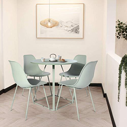 FurnitureR Eames - Juego de 4 sillas de Comedor, sillas de Cocina Modernas de Mediados de Siglo Asiento de plástico y Silla Lateral con Patas de Metal, Verd