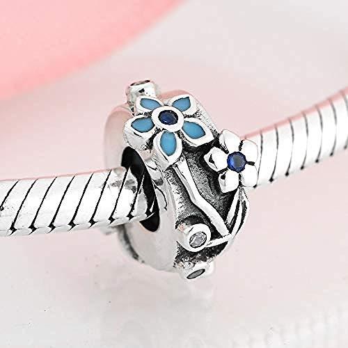 Zilveren kralen bedels, echte 925 sterling zilver blauw vergeet me niet bloemen stop spacer armband sieraden maken diy beste cadeau voor meisjes tieners diy beste cadeau voor meisjes tieners