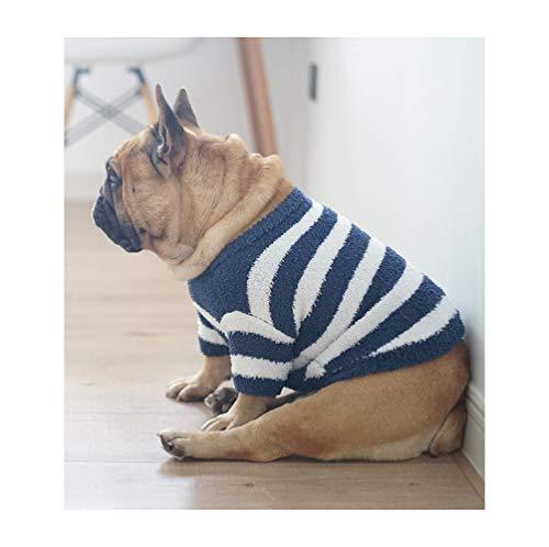 Khemn 丨Bulldog Custom-Clothing丨Soft Warm Blue Striped Bulldog Knitted Sweater, Dog Pullover, Cute Dog Clothes for French Bulldog/English Bulldog/Bull Terrier/Pug (XXL)