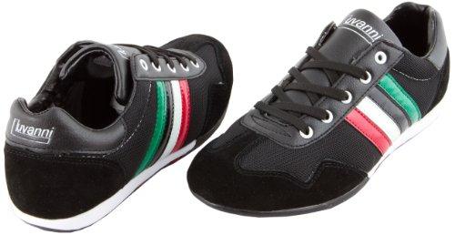 Preisvergleich Produktbild Luvanni Herren Sneaker Turnschuh Freizeitschuh mit echtem Leder,  Farbe Schwarz