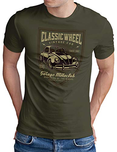 OM3® Classic-Wheel T-Shirt | Herren | Garage Legendary Auto Retro Oldschool | Oliv, XL