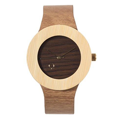 seQoya - Crooked   Reloj de Madera con Esfera de Madera y Correa de Piel ecológica simulando Madera Estampada   Reloj Hombre y Mujer   Diseño único y Original