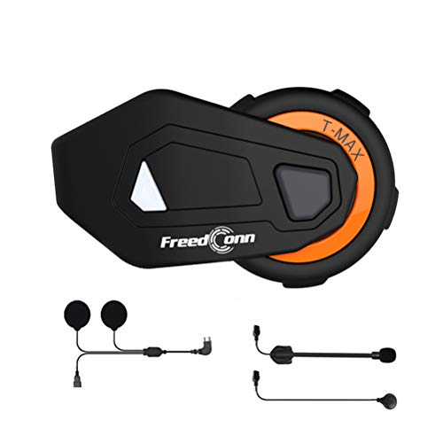 Motorcycle Helmet Headset, FreedConn T-MAX Moto Communication Systems Bluetooth Group Intercom with 2 in 1 Switchable Microphone (FM Radio/Handsfree/1000M/ 6 Riders/IPX65 Waterproof)