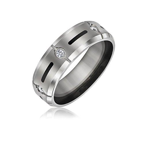 Bling Jewelry Inserto Nero AAA CZ Cubic Zirconia Accento Tono Argento Titanio Uomini Ampia Fascia di Nozze Anello per Uomini 8Mm