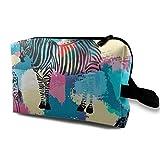 Bolsas de maquillaje de cebra de colores para mujer, bolsas de maquillaje de viaje, espaciosas bolsas de tocador, organizador de accesorios con cremallera