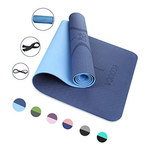 Colchoneta de Yoga Antideslizante con Línea Corporal para Pilates Ejercicio con Banda Tensión Toalla de Hielo Sin PVC Eco Friendly y Duradera 183x66cmx6mm (Azul)