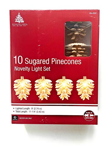 Enchanted Forest 10 Sugared Pinecones Novelty Light Set: Indoor/Outdoor