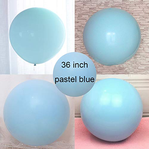 VUMSUM 36 inch Pastel Balloons for Parties 5 pcs Macaron Latex Balloons for Birthday Wedding Engagement Anniversary Christmas Festival Picnic or Any Friends & Family Party Decorations-Pastel Blue