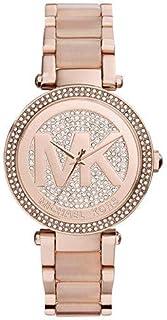 Michael Kors Parker Crystal Pave Logo Dial Rose Gold-tone Ladies Watch MK6176