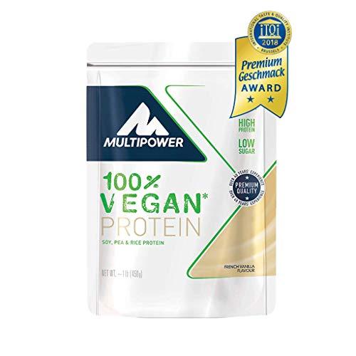Multipower 100% Vegan Protein - Proteine Vegane da tre Fonti Vegetali Riso, Piselli e Soia - Per lo sviluppo Muscolare - Alto Valore Biologico e Basso Contenuto di Zucchero - 450 g - Gusto Vaniglia