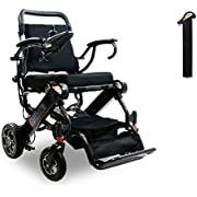 Elite Foldable Electric Power Wheelchair, Supports up to 265lb, Weighs only 50lb, 12 Mile-Range with 2 Batteries, Fits Any car Trunk, Safe for Air Travel, Cover Bag Included, Model N5513A (Dark Gray)