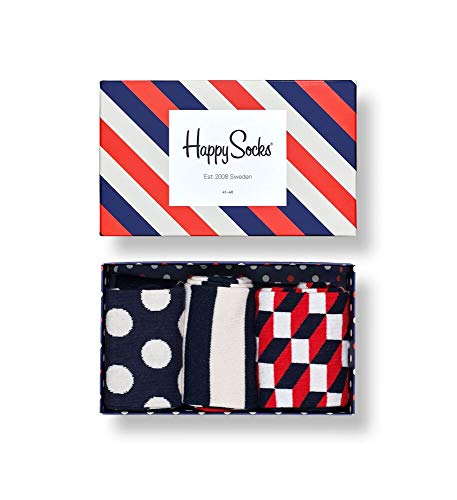 Happy Socks Herren Classic Stripe Gift Box Socken, Mehrfarbig (Multicolour 600), 7/10 (Herstellergröße: 41-46) (3er Pack)