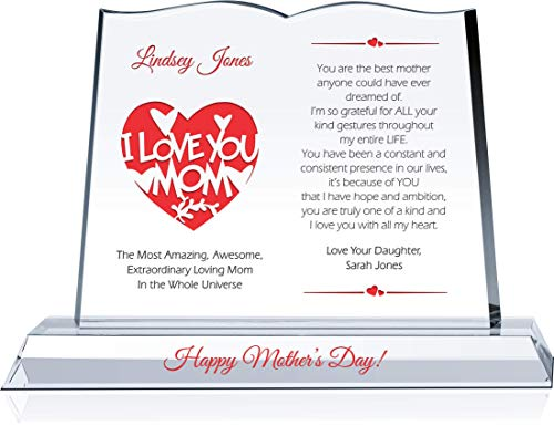 mom plaques Personalized Best Mother Gift for Mom from Son, Daughter, Children, Customized with Mother & Children's Name, Unique Mother Gift Plaque for Mother's Day, Mother Birthday and Christmas (L - 12