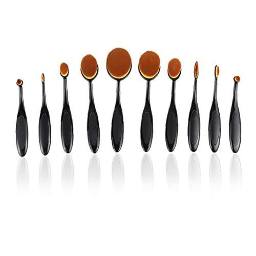 MICHAELA BLAKE 10PCS Make-up-Pinsel-Set, weiche Oval Zahnbürste Shaped Foundation Contour Pinsel Powder Blush Conceler Eyeliner Blending-Bürsten-Kosmetik-Werkzeug-Set