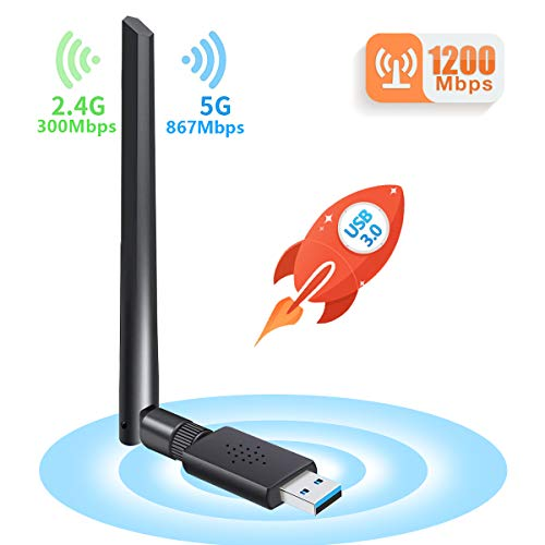Carantee 3.0 USB WiFi Adapter 1200Mbps with 5dBi Dual Band Antenna, Wireless Network WiFi Dongle for PC/Desktop/Laptop