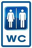 Cartel Resistente PVC - WC DOBLE - Señaletica de informacion - señal ideal para colgar y...