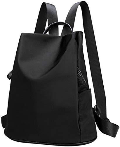 COOFIT Rucksack Damen, Wasserdichter Nylon Rucksack Schultertasche Damen Anti-Diebstahl Tagesrucksack (Alles schwarz)