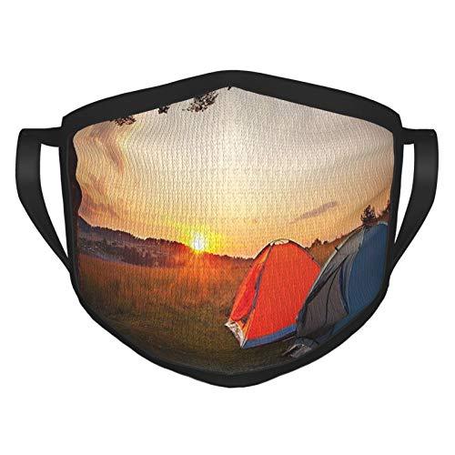 wokao Camper Recreación Área En Parque Nacional Con Tiendas Al Atardecer Con Sol Artsy Panorama Multi Reutilizable Cara Bufanda