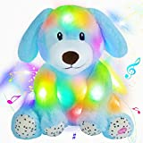 Houwsbaby LED Musical Stuffed Puppy Floppy Light up Glowing Singing Pup Adorable Plush Toy Lullaby Animated Soothe Birthday for Kids Toddler Girls, Blue, 9''