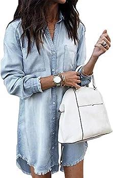 Women Denim Shirt Dresses Long Sleeve Distressed Jean Dress Button Down Casual Tunic Top Lightblue S