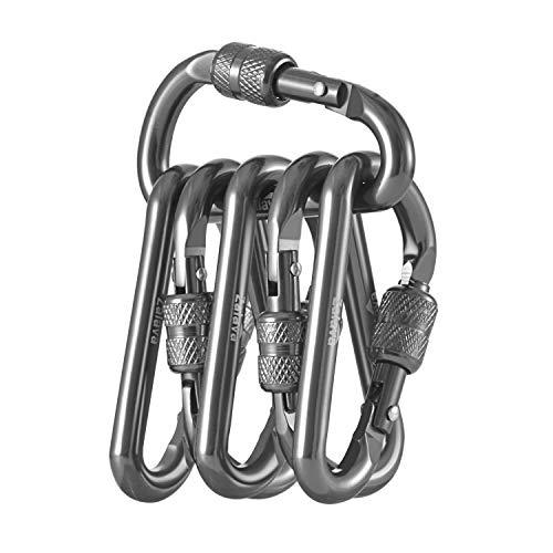 Zalava Neu Mini Schlüsselanhänger Karabiner, 6 Pcs Karabiner mit Schraubverschluss Aktualisierung Stabiler Mehrfunktionale Karabinerhaken für Camping, Angeln, Wandern Oder Reisen (Grau)