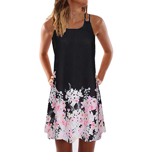 VEZAD Women's Boho Summer Sleeveless Beach Printed Short Mini Dress 8 Z Black