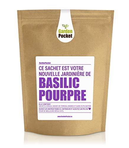 Garden Pocket - Kit de culture d'herbes aromatiques BASILIC POURPRE - Sac de pot de fleur