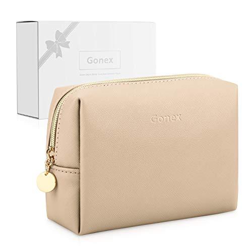 Gonex Kunstleder Klein Kosmetiktasche Damen Schminktasche für Handtasche Makeup Tasche - Beige