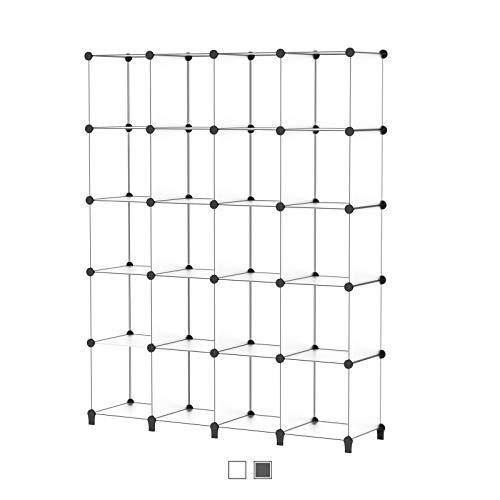 SIMPDIY Storage Cubos modulares 20 Cubos Transparente (155x124x30cm) Organizador portátil de plástico Estantería Estante Estante…