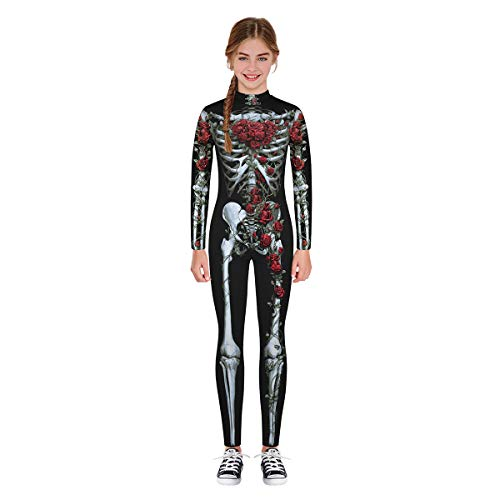 Leezeshaw Unisex Girls Boys Halloween Skeleton Costumes Kids 3D Rose Flowery Skeleton Skull Print Long Sleeve Fancy Dress Halloween Cosplay Unitard Bodysuit