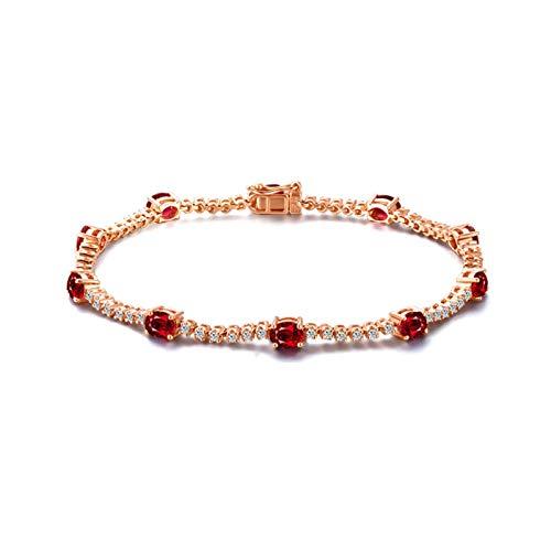 Bishilin Pulsera de Compromiso Oro Rosa 750 Clásico Pulseras de Encanto Rojo Rubí Diamante Pulseras de Mujer Rund Joyería Elegante para Cumpleaños Navidad Año Nuevo Oro Rosa
