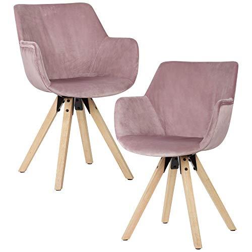 FineBuy Sedie per Sala da Pranzo Rosa Set di 2 Velluto e Legno Moderne Sedie | Design Sedie da Cucina Imbottito | Sala da Pranzo Poltroncina con Braccioli