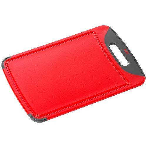 Silit Servieridee Tabla de Cortar con surco para líquidos y asa, Rojo, 38 cm