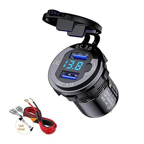 Thlevel QC3.0 Toma USB Coche de Aluminio 12V / 24V Cargador Rápido de Coche Dual USB Impermeable con Interruptor y Voltímetro LED Indicador para Coches, Motos, RV, Camiones, Barcos (Negro)