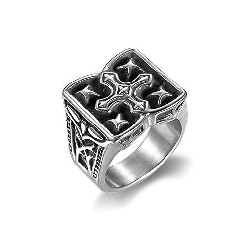 HHW Cross Faith Lucky Star Amuleto, Anillo Vintage De Acero Inoxidable, Regalo Creativo De Joyería De Motociclista para Hombre,11