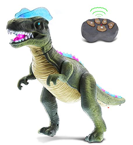 Mozlly Remote Control Dinosaur T-Rex Walking Big RC Dino with Realistic Move Walk Roar Light Up & Sound – Action Figure Tyrannosaurus Rex Robot Dinosaur Toy for Boys, Girls and Kids - Green or Brown