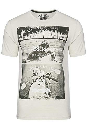 Herren T-shirt South Shore Kurzärmelig Motorrad Fahrrad Bedruckt Rundhals Sommer - Elfenbein - 1C9083R, Small