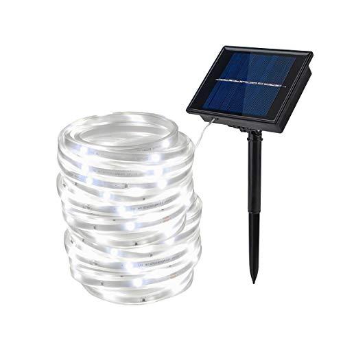KINGCOO 100Leds Ruban Bande Strip Guirlande Lumineuses Solaires Extérieur, Etanche 5M Rubans LED Lumière de Corde Cuivre Fil Éclairage Chaîne Décorative Atmosphère(Blanc)