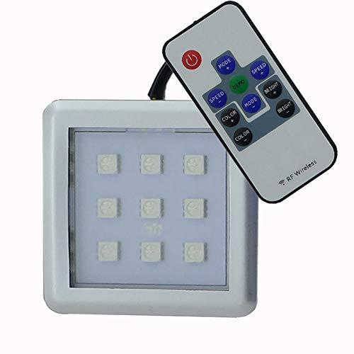 RGB LED 2er Set Unterbauleuchte, Möbelleuchte, Schrankleuchte, Vitrinenlicht mit Fernbedienung, in Aluminiumoptik mit Kunststoffabdeckung