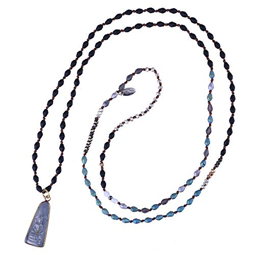 KELITCH Sakyamuni Buddha Pendant Necklaces Crystal Silver Beaded Strand Necklaces Meditation Yoga Jewelry