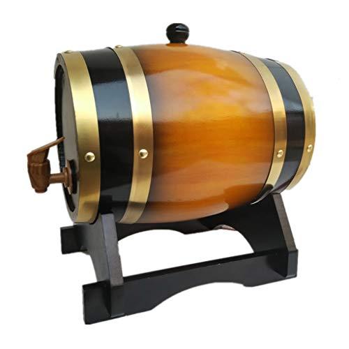 Botte di Rovere in legno di Vino Botte di Whisky Da 20 Litri, Botte di Invecchiamento In Rovere con Supporto, Birra, Vino, Liquori, Porta per Whisky ( Color : Vintage yellow , Size : 20L )