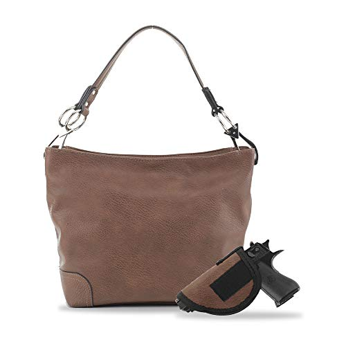 Lydia Large Concealed Carry Leather Hobo Purse For Women With Detachable Holster - Brown
